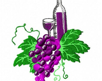 Wine and Grapes Machine Embroidery Design - Instant Download