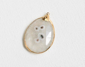 Large Solar Quartz Pendant 24 KT Gold Edged