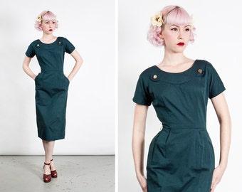 Vintage 1950s Dark Teal Heavy Cotton Wiggle Dress