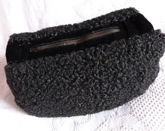 Antique French black lamb fur astrakhan muff glove sleeve hand warmer clutch pouch, Victorian French handmade gothic steampunk accessory
