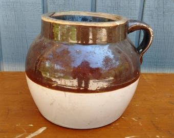 Vintage Crock - Antique Crock - Jug - Brown and White Crock