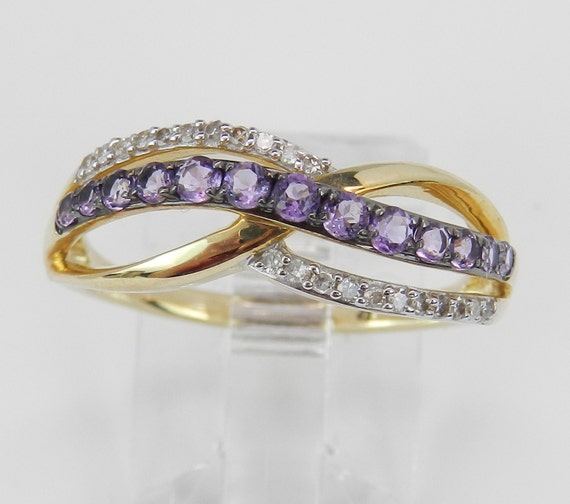 Diamond and Amethyst Crossover Ring Anniversary Band Yellow Gold Size 7.25