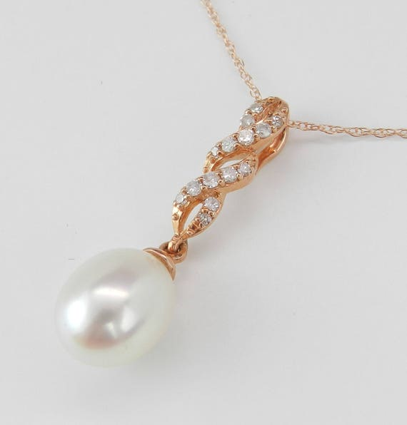 """14K Rose Gold Diamond and Pearl Drop Pendant Wedding Necklace with Chain 18"""" June Birthstone"""