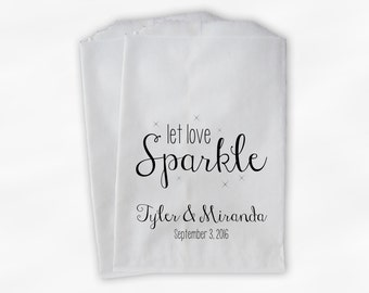 Let Love Sparkle Wedding Favor Bags - Personalized Sparkler Sendoff Bags in Black - Candy Buffet Custom Paper Bags (0184)