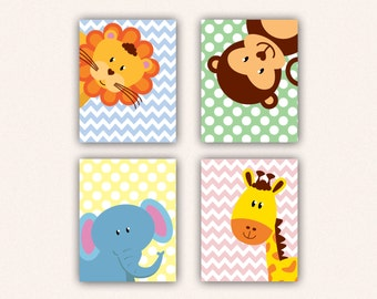 Jungle Animal Nursery Print Set - Elephant Monkey Giraffe Lion Kids Bedroom Art, Chevron and Polka Dot Safari Decor in Pastel Colors (5008)