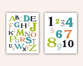 Alphabet and Numbers Print Set - Navy Teal Orange Lime ABC's and 123's for Kid's Bedroom - Custom Nursery Art (5003)