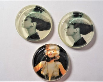 32mm Vintage cabochons, 3CT as shown, S6e, Marilyn Monroe Inspired, Audrey Hepburn Inspired
