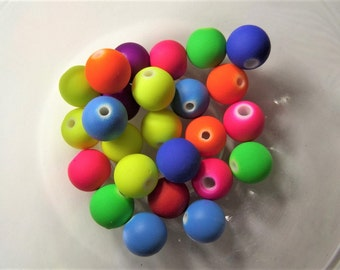 9mm* 10mm. 25CT. Mixed Neon Color Acrylic Beads round Lantern Beads, Rubber Textured (2mm hole) S42
