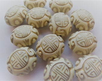 19mm*13mm Oval Ivory Beads, 10CT. (H34)
