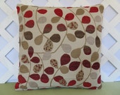 Trailing Leaves Pillow Cover in Red Orange Brown Tan Cream / Foliage Pillow / Red Cream Pillow / Accent Pillow / 18 x 18 Pillow