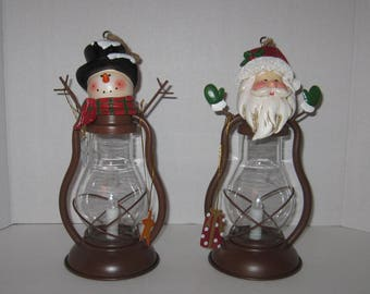Vintage Santa and Snowman Solar Lantern
