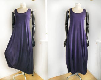 Jersey Maxi Dress Dutch designer balloon Dress purple 90s fashion natural sleeveless day dress summer dress