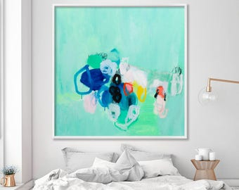 """Colorful modern Large wall art, Giclee print of abstract painting up to 40x40"""" aqua green seafoam blue yellow by duealberi"""