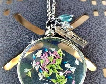 Botanical Romantic Vintage Style HOPE Dried Flower Blue Fluorite Pendant Necklace