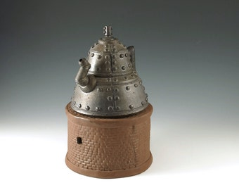 Ceramic Teapot - Steampunk Teapot - Handmade Teapot - Industrial Metal Series - Functional Art - Collectors Teapot - Wedding Gift - MS102