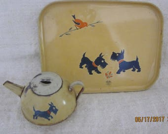 Vintage 1950s Tin Toy Teapot and and Serving Tray, Scotty Dogs, Essex Tin toys, toy tin teapot, toy tin tray