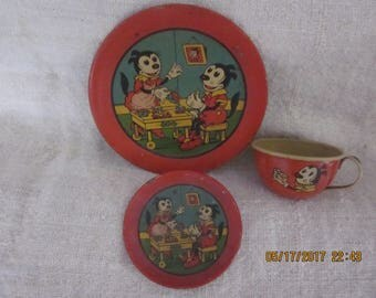 Vintage Ohio Art 1930sToys RedTin Toy Cup,Saucer, and Plate