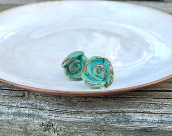Turquoise Rose Flower Stud Earrings - Unique Solid Copper w/ Verdigris Patina - Rustic PMC Jewelry 7th Anniversary or Bridesmaids Gift