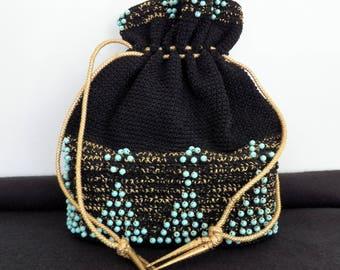 Black Drawstring Handbag - Vintage Crochet Purse - Turquoise Beaded Handbag Purse - Beaded Purse - Hobo Handbag -Gypsy Sack Handbag Purse
