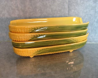 4 Corn on Cob Ceramic Serving Dishes