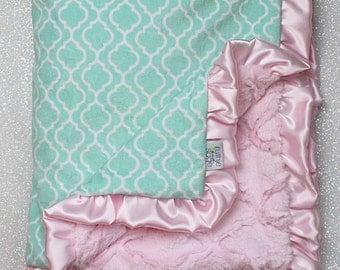Minky Blanket, baby girl, custom baby girl blanket, mint and pink, trellis tile soft blanket, lattice, mint, baby gift, ruffle blanket