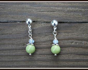 Sage Green Earrings, Green Glass Earrings, Ball Post Earrings, Casual Earrings, Everyday Earrings, Simple Earrings