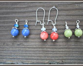 Interchangeable Earrings, Blue Glass Earrings, Green Glass Earrings, Salmon Pink Earrings, Kidney Wire Earrings, Glass Bead Earrings