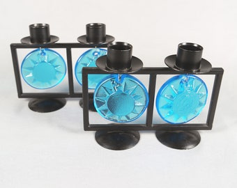 Pair of FM Konstglas Ronneby Sweden candle holders, candleholders,  sun motif, blue glass and steel, stickered