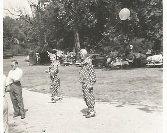 "Vintage Photo ""Creepy Clowns"" Face Paint Polka-Dot Costumes Balloons Found Vernacular Photo"