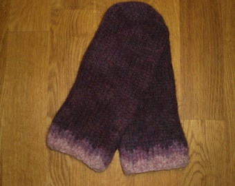 Icelandic wool mittens, purple mittens,felted mittens, hand knitted mittens, size medium ready to ship