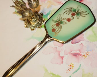 Vintage, Pink and Green, Floral Vanity Mirror, Hand Mirror