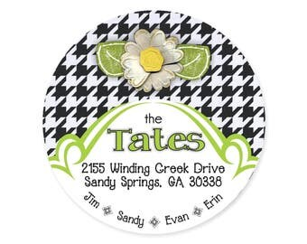 Houndstooth Personalized Address Labels Stickers / Black White Daisy