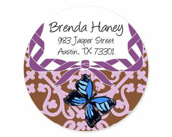 Butterfly Purple Brown Bow Personalized Address Labels Stickers