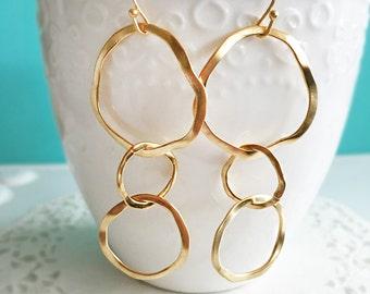 Circle Earrings, Triple Circle Dangle Earrings, Gold Infinity Joined Loops, Hoop Earrings, Mother Jewelry, Mama Jewellery, Mother Daughter