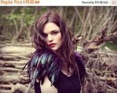Sale Purple and black feather epaulette shoulder pieces, black wings, feather shoulders