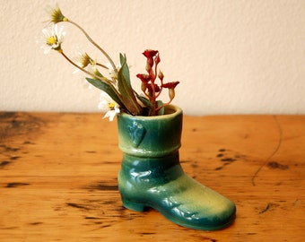 Vintage Boot Planter Vintage Green and Yellow Boot Planter Vintage Boot Vase from The Eclectic Interior