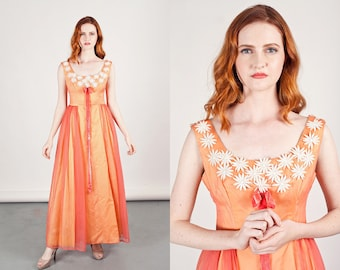 50s Peach Chiffon Dress Vintage Embroidered Floral Gown Prom Dress