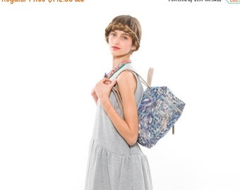 SALE 50% OFF SALE - 50 Percent Off!!! Blue Nylon Fabric Bag with Beige Leather Straps, Lightweight & Practical School Backpack or Briefcase