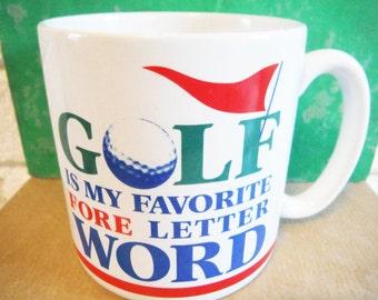 Golf coffee mug fore golfer golfing humor sports decor pencil mug green red blue