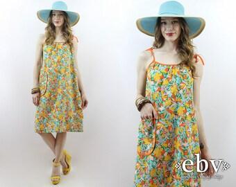 Summer Dress Tent Dress 1970s Dress 70s Dress Floral Dress Vintage Sundress 1970s Sundress 70s Sundress Shoulder Tie Dress Beach Dress S M L