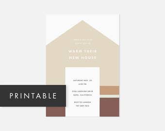 Printable Housewarming Invitation / Simple Printable Invite / Modern DIY Invite / House Warming / Muted Tan