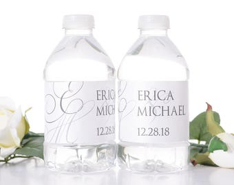 """Elegant Wedding Water Bottle Labels - Monogram Wedding Favors -Need a different quantity? Click on the """"choose total"""" tab to see all pricing"""