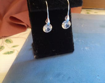 Crystal and Silver 1 1French Hook Earrings