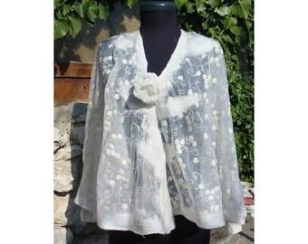 Felt Lace Blouse,Felt Tunic,Embroided Lace Blouse,European Design,White Lace Felt Dress,Merino Wool Felt Cape,Art Deco,Woman Gift ,Handmade