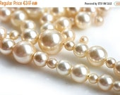 ON SALE Creamy Pearl beads mix, czech glass beads, faux pearls, beige round pearls mix - 20gr - 1387