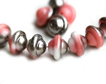 Pink Saucer beads, UFO shape - Pink with silver luster, Czech glass beads, 8x10mm, saturn - 12Pc - 1034