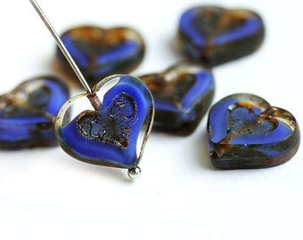 Dark Blue Heart beads, Picasso czech glass beads, Blue and Clear table cut glass heart - 14mm - 6Pc - 2976