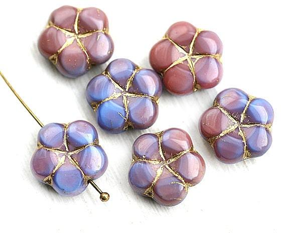 Puffy flower beads, Pink Blue daisy Czech glass bead, golden inlays, 5 petal floral beads - 13mm - 6pc - 2798