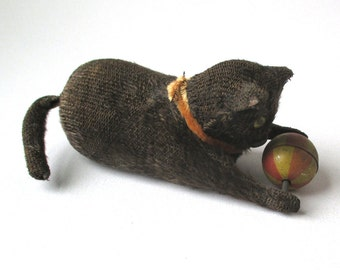 Antique Tin Wind-Up Cat, tin litho toy, Cat with Ball, wind up toy, tin toy, 1940s, furry kitten