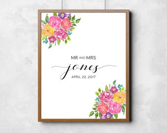 Alternative Guest Book, Alternative Guest Book for Weddings, Guest Book Art Print, Personalized Wedding Print, Floral Wedding Guest Print